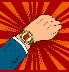 Wrist watch show now pop art vector