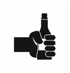 Hand holding bottle of beer icon simple style vector image