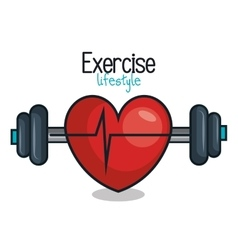 Exercise lifestyle barbell heartrate design vector