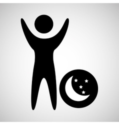 Man happy sleeps dreams moon star icon vector