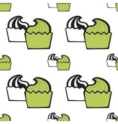 Green pistachio ice cream cake or frozen yogurt vector
