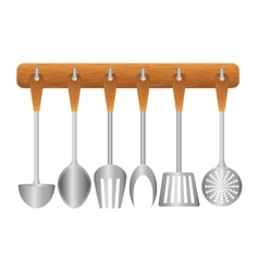 Colorful rack utensils kitchen icon vector