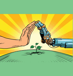 Humans and robots protect nature vector