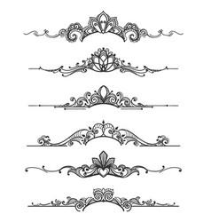 floral design crown calligraphic elements vector image