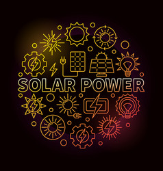 Solar power round colorful vector