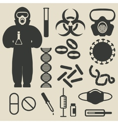 Epidemic protection and medical icons set vector