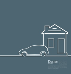 Web template house and parking car logo in minimal vector