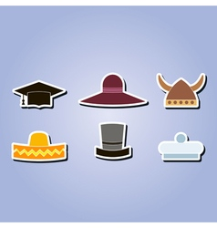 Color icons with different hats vector