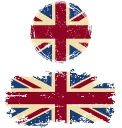 British round and square grunge flags vector