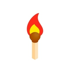 Burning match isometric 3d icon vector