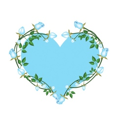 Blue roses flowers in a heart shape vector