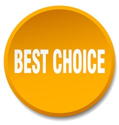 Best choice orange round flat isolated push button vector
