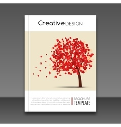Cover report flyer colorful tree with hearts vector