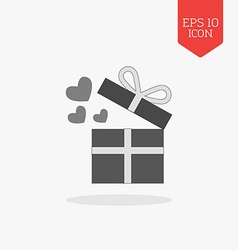Open giftbox with hearts icon flat design gray vector