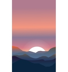 Abstract landscape of a sunset vector