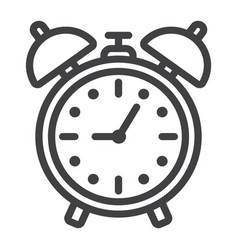 alarm clock line icon time and deadline vector image