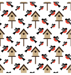 Bird and bird house pattern vector