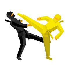 Black and yellow ninja combat vector