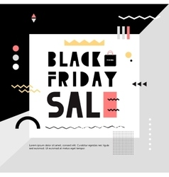 Black friday sale modern banner in the memphis vector