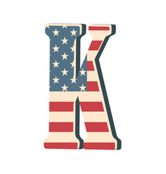 Capital 3d letter k with american flag texture vector