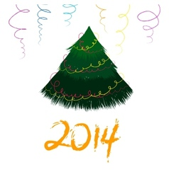 Christmas card with sketch New year tree vector image vector image