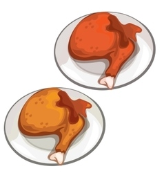 Delicious fried chicken legs food vector