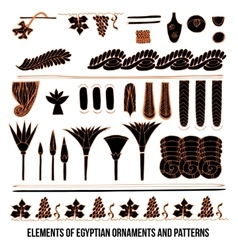 Elements of Egyptian ornaments and patterns vector image