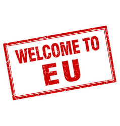 Eu red square grunge welcome isolated stamp vector