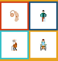 Flat icon cripple set of disabled person injured vector