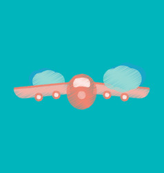 Flat icon in shading style plane flying clouds vector