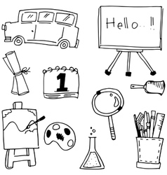 Hand draw element school doodles vector
