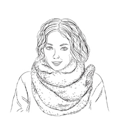 Hand drawn girl vector image vector image