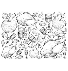 hand drawn of roasted turkey with apple and wine b vector image vector image