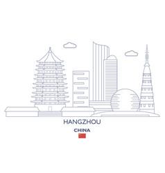 Hangzhou city skyline vector