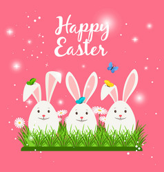 Happy easter card with white rabbits vector
