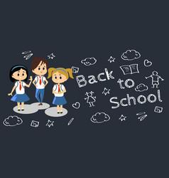 happy kids in blue hight school uniform cute vector image vector image