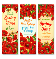 Hello spring flower greeting banner set design vector