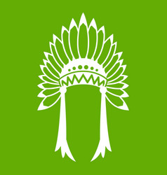 indian headdress icon green vector image