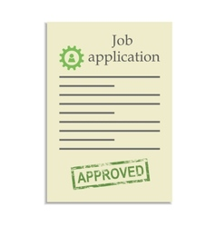 Job application with approved stamp vector