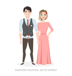 loving couple in stylish clothes hold hands vector image