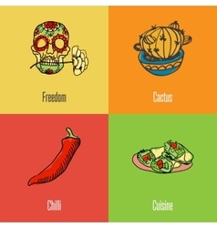 Mexican national symbols icons set vector