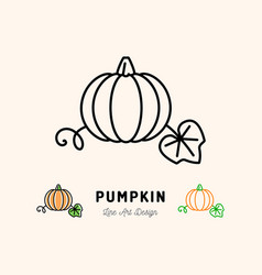 pumpkin icon vegetables logo thin line art vector image