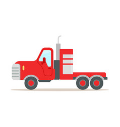 Red cargo truck colorful cartoon vector