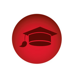 Red emblem graduation hat icon vector