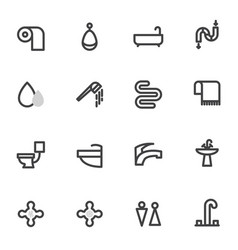set of icons with shower toilet bathroom vector image