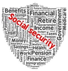 Social security word cloud vector