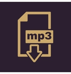 The mp3 icon File audio format symbol Flat vector image vector image