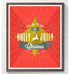 Type christmas design with deer and sunburst rays vector