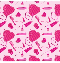 Pink pattern with womens clothes for beauty vector