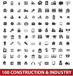 100 architecture construction  industry icons set vector